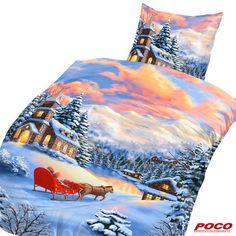 Nach einer wilden Schlittenfahrt wärmt unsere Thermofleece-Bettwäsche wieder schön auf. Kissenbezug: ca. 80 x 80 cm, Bezug: ca. 135 x 200 cm #weihnachten