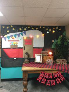 Teacher Appreciation camping theme decorations New Classroom, Classroom Design, Preschool Classroom, Classroom Themes, Classroom Activities, Classroom Camping Theme, Camping Activities, Preschool Rules, Disney Classroom