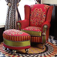 Chair and ottoman, not to mention the neat curtains and rug.....!