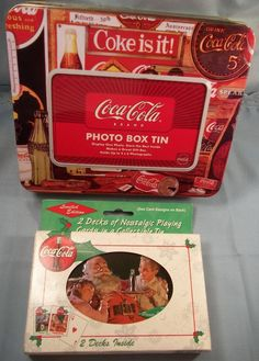 Coca Cola Playing Cards Tin 1999 Limited Edition Photo Picture Storage Box Tin #CocaCola