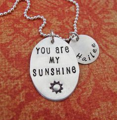 You are my Sunshine necklace with custom name charm