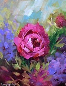 Сердце Haven Розовые розы Нэнси Медина Нефть ~ 10 х 8