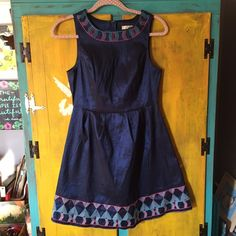 Blue Dress with Aztec Pattern Material is a little stiff- worn once or twice Ua Dresses