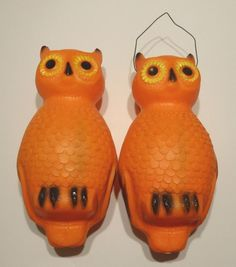 "2 Vintage Halloween Decoration Hanging Owl Blow Mold Lights SHADES ONLY 14"" tall"