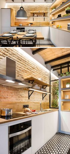In this small modern kitchen, wood countertops and backsplash compliment the warm brick while white cabinets - small kitchen Small Modern Kitchens, Small Space Kitchen, Black Kitchens, Modern Kitchen Design, Cool Kitchens, Small Spaces, Modern Design, Open Spaces, Small Apartments