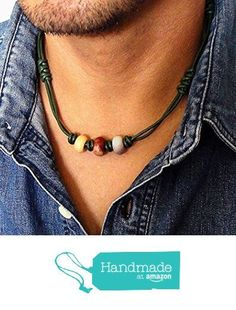 Green Leather Cord and Multi-color Gemstone Tribal Style Choker Necklace for Men, Women, Unisex - Moukaite & Indian Agate Stone from Mami's Gem Studio http://www.amazon.com/dp/B01C14UCLY/ref=hnd_sw_r_pi_dp_XUF1wb0DKRQ8H #handmadeatamazon