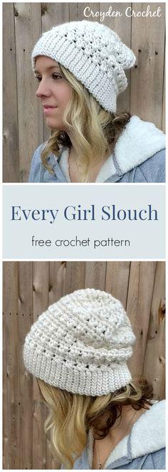 The Every Girl Slouch. A free crochet pattern by Croyden Crochet. ganchillo häkeln The Every Girl Slouch Beanie - A free pattern by Croyden Crochet Slouch Hat Crochet Pattern, Crochet Adult Hat, Bonnet Crochet, Chunky Crochet Hat, Mittens Pattern, Chunky Yarn, Crochet Simple, Crochet Diy, Crochet Crafts