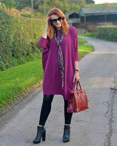 Magenta cocoon dress & leather leggings from new 40 plus clothing brand, hope fashion Hope Fashion, Over 60 Fashion, Over 50 Womens Fashion, 50 Fashion, Fall Fashion Trends, Fashion Tips For Women, Fashion Outfits, Fashion Ideas, India Fashion