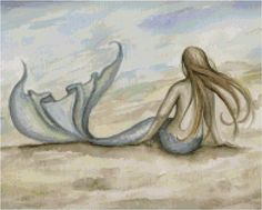 Seaside Beach Mermaid Print from Original Watercolor Painting by Camille Grimshaw. via Etsy. Mermaid Float, Mermaid Fairy, Mermaid Tale, Mermaid Beach, Mermaid Room, Mermaid Cross Stitch, Mermaid Pillow, Ange Demon, Seaside Beach