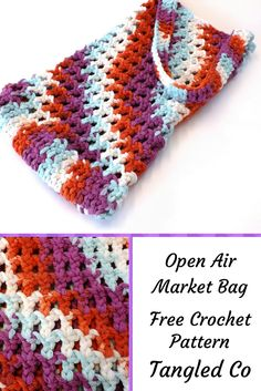 """Environmentally friendly shopping bags don't need to be boring, you can make your very own open air market bag! This is a simple pattern that works up quickly, that works great as a market bag, or as a small beach bag. What You Need 1 skein Bernat Handicrafter Cotton – Chunky 6.5mm crochet hook … Continue reading """"Market Bag – Free Crochet Pattern"""""""