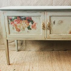 #paintedsideboard #grey #putty #linen #decoupage #paintedfurniture #shabbychic #handpainted #chalkpaint #cabinet #vintagefurniture #distressed #roses #cathkidston #upcycle #reclaimed #repurpose #milkpaint Find me on Facebook :-) Resin Patio Furniture, Hand Painted Furniture, Vintage Furniture, Painted Sideboard, Milk Paint, Repurposed, Decoupage, Upcycle, Shabby Chic