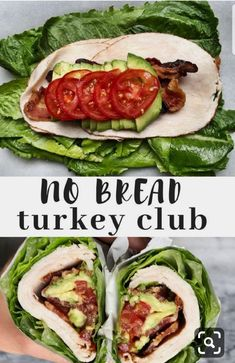No brad turkey club sandwich wrapped in romaine lettuce. A low carb, paleo and k… No brad turkey club sandwich wrapped in romaine lettuce. A low carb, paleo and keto friendly lunch option. Perfect for lunch meal prep. Low Carb Lunch, Lunch Meal Prep, Healthy Meal Prep, Healthy Snacks, Healthy Eating, Meal Prep Keto, Healthy Lunch Ideas, No Carb Snacks, Keto Diet Meals
