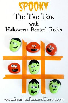 "Create your own ""Super Cute Spooky Tic Tac Toe Game"" with Halloween painted rocks using Elmer's Painters. Such a fun craft to do with your kids! #Halloween #kidscrafts"