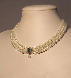 Wedding Necklace ,Bridal,Choker, Pearls, Rhinestone,Zirconium, Emerald Green Stone, Statement ,Vintage Jewelry, Lady D, Triple Pearls Row
