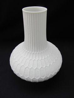 70er Jahre! Fürstenberg weiße Op-Art Porzellanvase