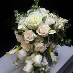 White Roses, White Flowers, Touch Of Gold, Calla Lily, Perfect Wedding, Wedding Styles, Wedding Flowers, Floral Wreath, Bloom