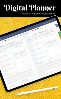 Enjoy the hyperlinked structure of Daily Planner to manage your tasks and plans faster. Each page spread resembles a double page in landscape (horizontal) format with a page crease and staples down the centre. It comes use with Notability, Goodnotes, Xodo and Noteshelf for your iPad. #digital #planner #planners #templates #journal Monthly Planner Printable, Weekly Meal Planner, Free Printable, Workout Schedule, Workout Planner, Workout Sheets, Fitness Planner, Training Plan, Planners