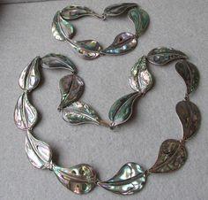 1970's Taxco Mexico Sterling Silver Abalone Leaf Necklace & Bracelet Set, Vintage Demi Parure by Designer EVB