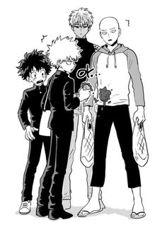 The Crossover Manga/Anime, Midoriya Izuku with Katsuki Bakugou (Boku no Hero Academia) x Saitam with Genos (Onepunch-Man)