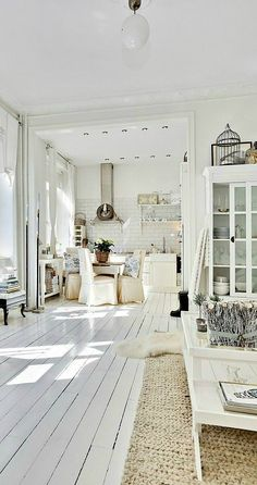 Cozy styles meets minimalistic design with this Scandinavian cottage decor. Recreate this inspiration for yourself by introducing a fresh white color scheme and simple accessories into your space.