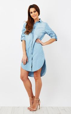 Katyia Denim Longline Shirt Dress Product photo