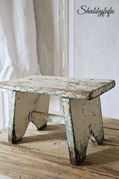 Vintage Chippy White and Aqua Paint Milking Stool-