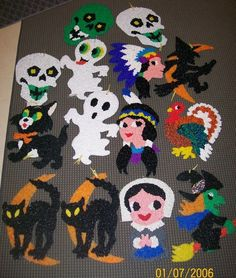 VINTAGE HALLOWEEN MELTED PLASTIC POPCORN WALL DECORATIONS LOT OF 14