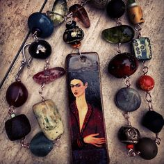 RESERVED Frida Kahlo Necklace Stonewear by ThreeMusesJewelry, $155.00
