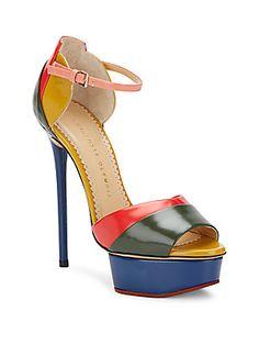 4cb798f22ce Charlotte Olympia - Modern Colorblock Leather Platform Sandals