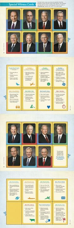 """These """"Special Witness Cards"""" would make a great File Folder Game for church!  Help your kids learn to recognize the members of the First Presidency and Quorum of the Twelve Apostles with """"Special Witness Cards""""!  #ldsconf"""