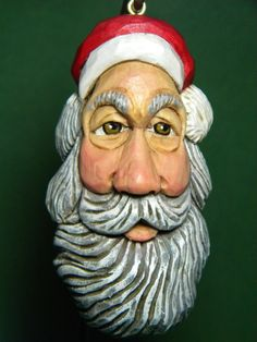Hand Carved Wood Christmas Santa with Red by HolidayCollectibles, $35.00