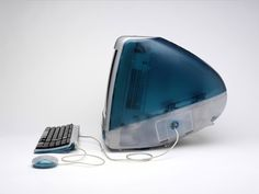 iMac G3 by Jonathan Ive, Apple, 1998: The original iMac in Bondi Blue invited the general public to the personal computer.  #iMac_G3 #Jonathan_Ive #Apple