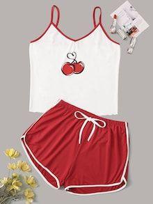 Cherry Print Cami Pajama Set - Source by andjeladjordjevic - Cute Lazy Outfits, Teenage Outfits, Teen Fashion Outfits, Girl Outfits, Fashion Sets, Emo Fashion, Gothic Fashion, School Outfits, Stylish Outfits