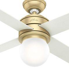 db3e7a5cabc Hunter Hepburn 52 in. LED Indoor Modern Brass Ceiling Fan