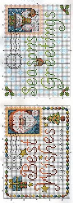 CHRISTMAS ENVELOPES cross stitch charts.   Gallery.ru / Фото #3 - С Рождеством - DELERJE
