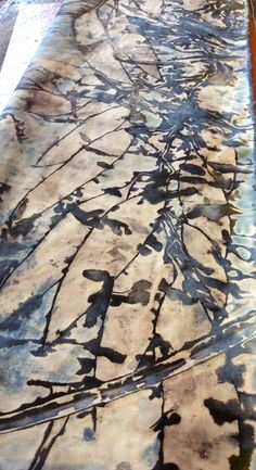 Natural dyeing and printing with leaves, eucalyptus and indigo on cotton