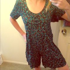 Floral romper Vintage boho floral print romper jumpsuit jumper onesie playsuit bodysuit culottes Urban Outfitters Pants Jumpsuits & Rompers