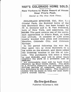 John Hays home sold in Crystal Park in 1908.