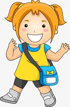 Hand Painted,Cartoon,girl,go to school,pattern,hand-drawn vector,cartoon vector,school vector,girl vector,pattern vector School Cartoon, Girl Cartoon, Cartoon Art, Cartoon Characters, First Day Of School Pictures, Kids Going To School, Flashcards For Kids, School Clipart, Cartoon Profile Pictures