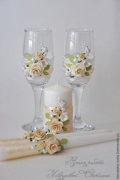 """Купить Свадебные аксессуары """"Нежный беж"""" - бежевый, свадебные аксессуары, кружево, цветы, свадебные бокалы"""