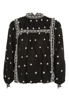 Long Sleeve Broderie Top - Topshop USA