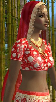 "Mod The Sims - Indian hair (part of ""Red with gold"" indian set) *REQUEST*"