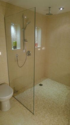 pebble tile in shower area and different tile for rest of floor - similar colouring Wet Room Bathroom, Downstairs Bathroom, Simple Bathroom, Bathroom Interior, Bathroom Ideas, Small Wet Room, Wet Room Flooring, Shower Tub, Shower Window