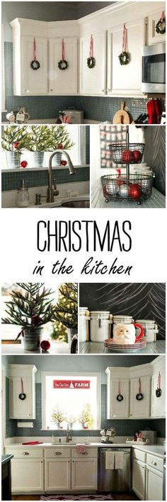 Cute Hanging Wreaths With Red And Silver Baubles For Christmas Kitchen Decor