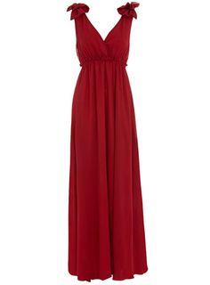 Red babydoll bow maxi dress
