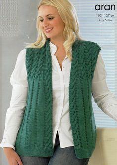 Jacket and Waistcoat in King Cole Merino Blend Aran – 3204 - Knitting Crochet Baby Knitting Patterns, Knitting Designs, Free Knitting, Gilet Crochet, Knit Crochet, Knit Vest Pattern, King Cole, Pulls, Jackets For Women