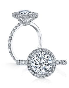 @Jean Loang Dousset Eva - Round Engagement Ring … love the micro pave setting and how the center is flush with the halo