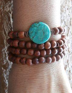 Inner Calm Basic Mala wrap or necklace with Turquoise Guru bead & Rosewood Yoga Bracelet,