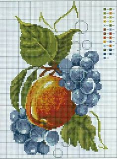 This Pin was discovered by Ali Cross Stitch Fruit, Cross Stitch Kitchen, Cross Stitch Rose, Cross Stitch Flowers, Cross Stitch Charts, Counted Cross Stitch Patterns, Cross Stitch Designs, Folk Embroidery, Cross Stitch Embroidery
