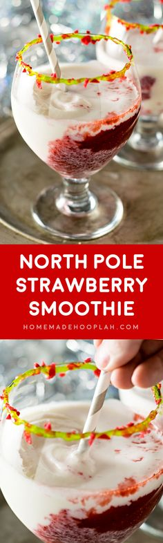 North Pole Strawberry Smoothie! Blended strawberries and frozen vanilla yogurt mix to create this festive holiday drink. Rim the glass with green decorating gel and sprinkle with crushed strawberry candy canes for an extra treat! | HomemadeHooplah.com